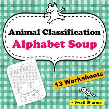 Animal Classification Alphabet Soup WordSearch Worksheets