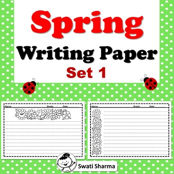 Spring, Writing Paper, Set 1, Happy Flowers