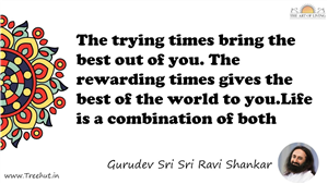 The trying times bring the best out of you. The rewarding... Quote by Gurudev Sri Sri Ravi Shankar, Mandala Coloring Page