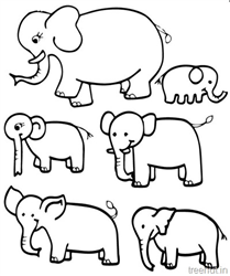 Cute Elephants Clipart