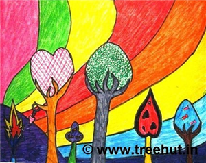 Abstract Trees Child Art