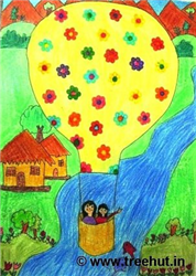 Hot Air Balloon Art by Grade 3 kids