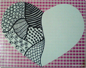 Zentangle Patterns in a Heart Gift Tag