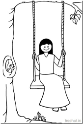 Girl Swinging Coloring Pages