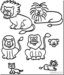 Lion and Lion Face Coloring Pages