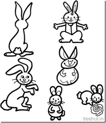 Cute Bunny Rabbits Coloring Pictures
