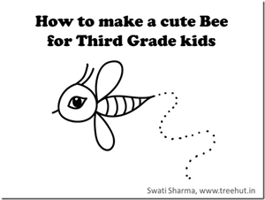 How to draw a Bee, video instructions for 3rd Grade kids